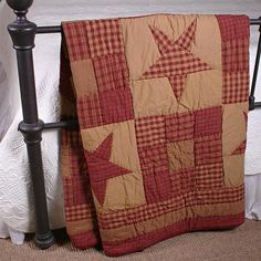 "COUNTRY PRIMITIVE RUSTIC NINEPATCH STAR QUILTED THROW 50""X60"""