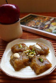apple halwa recipe, how to make apple halwa with cinnamon and vanilla