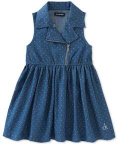 Calvin Klein Toddler Girls' Dot-Print Denim Moto Dress