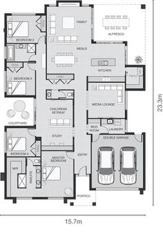 Remember the dream of the big family home? While we see lots getting smaller and narrower in the inner city, there& still something magic. Sims House Plans, House Layout Plans, New House Plans, Dream House Plans, Small House Plans, House Layouts, House Floor Plans, House Plans With Courtyard, Home Design Floor Plans
