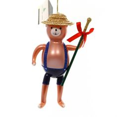 Bear Band With Stick Glass Ornament