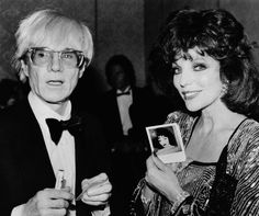 Andy Warhol- Joan Collins show photo of her Andy Warhol portrait and Beverly Hines Hotel April 1, 1985