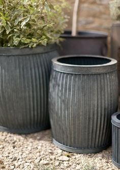 Set of 2 Victorian Ribbed Planters - Lime Lace £95.00 #victorian #planter #galvanisedsteel