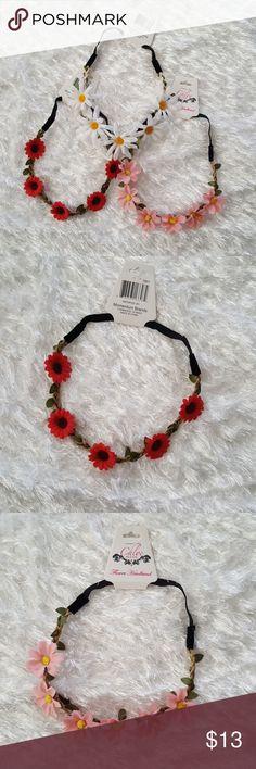3 Flower hair bands nwt! Flower hair headbands nwt! Elastic band cute for spring or summer ☺ Accessories Hair Accessories