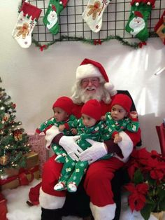 Triplets at Christmas shared by www.twinsgiftcompany.co.uk