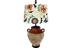 Terracotta Lamp w/ Floral Shade