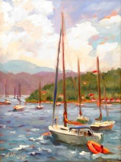 Virgin Islands Sailboat 16x12 by Jody Wrenn Rippy at Spectrum Art & Jewelry