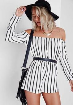 Striped Bardot Romper White