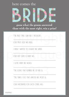 Printable Bridal Shower Games - This was a great game to play at the bachelorette party! Printable Bridal Shower Games, Wedding Shower Games, Bridal Shower Party, Wedding Games, Wedding Venues, Wedding Showers, Bride Shower, Wedding Speeches, Bridal Shower Question Game