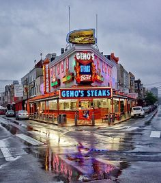 Gino's Steaks on 9th Street, Phila.  PA. One of the two famous Philly Steak places. The other is Pats.