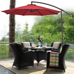 Shop for Costway Hanging Solar LED Umbrella Patio Sun Shade Offset Market W/Base Burgundy. Get free delivery at Overstock - Your Online Garden & Patio Shop! Get in rewards with Club O! Patio Umbrella Lights, Best Patio Umbrella, Outdoor Patio Umbrellas, Sun Umbrella, Beach Umbrella, Umbrella Cover, Outdoor Chairs, Outdoor Dining Set, Outdoor Living
