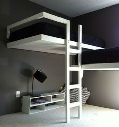 "Modern loft beds are hard to find in a world filled with amazing furniture options.This is the reason we arranged a list of Modern loft bed Ideas"" Bunk Bed With Desk, Bunk Beds With Stairs, Cool Bunk Beds, Kids Bunk Beds, Beds For Boys, Twin Boys, Dorm Room Designs, Bunk Bed Designs, Modern Bunk Beds"