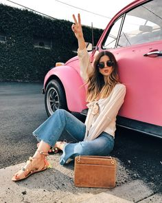 Talking about yesterday's spontaneous photoshoot with an old pink vw bug | Vintage Car, Fashion Photoshoot | Los Angeles Fashion and Lifestyle Blogger #vintagecars
