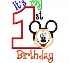 My First Birthday Mr. Mouse Full Face one 1 by CindysAppliques Mickey 1st Birthdays, Mickey Mouse 1st Birthday, 1st Birthday Shirts, 1st Boy Birthday, Machine Embroidery Applique, Applique Patterns, Applique Designs, Clip Art, Appliques