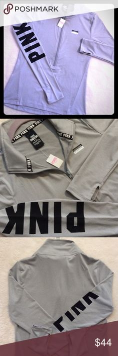 VS PINK half zip Ultimate s New w Tags Victoria's Secret Pink ultimate deep zip pullover crew top. Gray with black graphics and thumb holes. Size small. PINK Victoria's Secret Tops Sweatshirts & Hoodies
