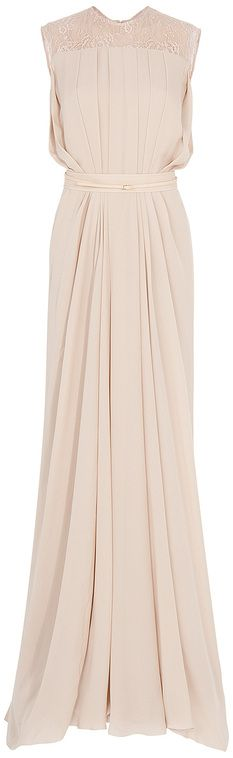 Elie Saab Beige Lace Back Georgette Gown