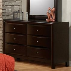 Phoenix Collection Dresser cappuccino Finish with beveled wood fronts