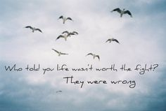 """""""Who told you life wasn't worth the fight? They were wrong."""" -Rascal Flatts (Why)"""