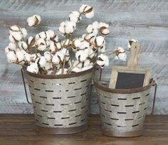 """Our Olive Buckets with Handles are the perfect size for holding seasonal stems! We especially love pairing these two sizes together for a complete look! - Large: 10"""" - Small: 8""""H - Metal"""