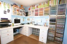 Amanda Green Bottoms — Kevin and Amanda Oh my word. This might be the most amazing scrapbooking/craft room I've ever seen.Oh my word. This might be the most amazing scrapbooking/craft room I've ever seen. Scrapbook Room Organization, Scrapbook Storage, Scrapbook Rooms, Craft Organization, Scrapbooking Table, Scrapbook Paper, Space Crafts, Home Crafts, Craft Space