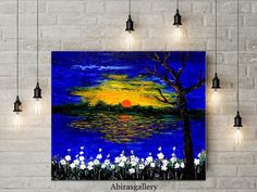 Modern abstract painting on canvas. It's a landscape painting ,Scenery painting, Nature painting, Contemporary art painting wall art.  This is an ORIGINAL TEXTURED PAINTING handmade decorative painting, with acrylic and medium on canvas. Ready to hang, gift, interior decoration with yellow orange blue colors, sunrise landscape by AG      Processing time:  1-3 days (if you need early please refer it)   Title:   SUNRISE LANDSCAPE   Painter:  Abira Bose    Color:   Blue, yellow, orange colors…