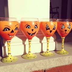 Funny pumpkins! Hand painted wine glasses  https://www.etsy.com/shop/buttonwoodboutique
