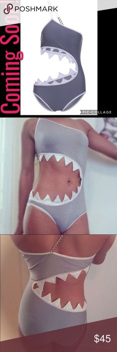 HOT ITEM-Sexy and Fun Shark Bite Cut Out Swimsuit! Coming soon! Reserve this today. I will get more soon after. One piece Grey shark bit cut out. Still sexy with all the coverage you need. Size Medium. More sizes soon! Swim One Pieces