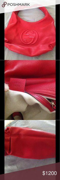 Red Gucci soho pebbled calfskin leather handbag Limited edition red Gucci soho in excellent pre-owned condition.No rips or tears comes with extra leather dustbag & card.Comes from a smoke/free home.Retail $1780..On eBay for $950 Terriscloset24 Gucci Bags Hobos
