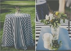 cocktail tables with striped linens | VIA #WEDDINGPINS.NET
