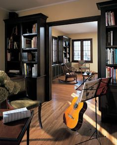 music room plus a piano, guitars, violin and fiddle and Chloe's french horn.