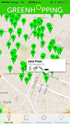 Greenhopping helps you find the nearest juice bar, organic market or healthy cafe.