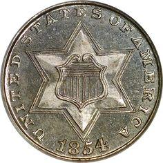 Three Cent Silvers - 1854 3CS PF