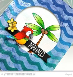 I die-cut a circle aperture from the ink-blended panel and set aside. On a white card base, I stamped a palm tree from Tiki Party and coloured it in with some ZIG Clean Color Real Brush Pens. I added clear Wink of Stella and Glossy Accents on the coconuts for some shine. I stamped one of the birds from Polynesian Paradise onto a piece of white cardstock used  ZIG Clean Color Real Brush Pens to colour and foam mounting to a strip of black cardstock.