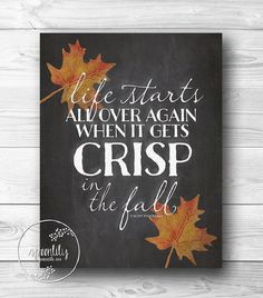 Fall wall art print decor autumn decoration thanksgiving printable chalkboard leaf typography poster art print home decor INSTANT DOWNLOAD