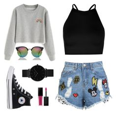 """""""Untitled #282"""" by r00t ❤ liked on Polyvore featuring Boohoo, Disney Stars Studios, Converse, Smashbox and CLUSE"""