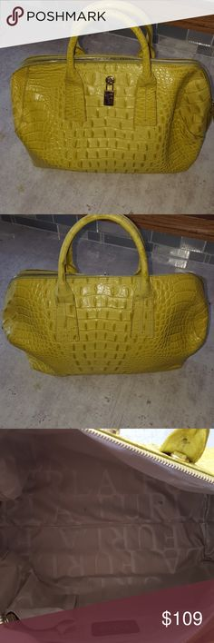 Furla satchel Lime green leather purse has two handles with one additional long strap inside reptile print and is in excellent condition this bag measures 15 inches across 9 in tall and is approximately 6 in wide period and includes dust cover Furla Bags Satchels