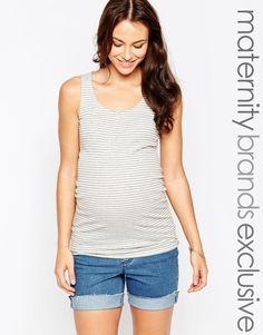 Image 1 ofNew Look Maternity Stripe Print Ribbed Vest