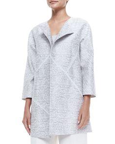 Anissa 3/4-Sleeve Topper Jacket, Women's, Size: MEDIUM8-10, White Multi - Lafayette 148 New York