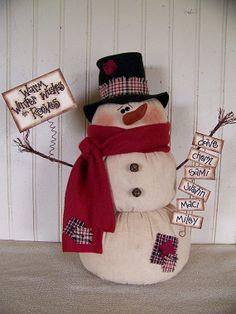 Primitive PERSONALIZED Snowman with Warm by CherylsPrimkeepsakes, $32.99