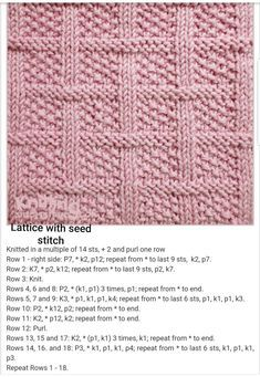 Lattice With Seed Stitch Free Knitting Pattern - Knitting Kingdom # gitter mit samenstich free knitting pattern - knitting kingdom # en tricot avec motif de point de semence gratuit - royaume de tricot Knitted Squares Pattern, Knitted Dishcloth Patterns Free, Knitting Squares, Knitted Washcloths, Knit Dishcloth, Easy Knitting Patterns, Knitted Blankets, Free Knitting, Knitting Projects