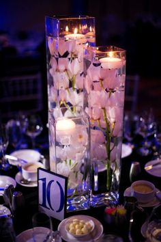 The Centerpieces Were Silk Flowers With Glass Gems In