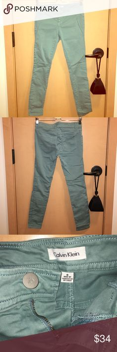 Calvin Klein pants Super stylish minty blue colored pants from Calvin Klein. It's size 0 but if it's more like a size 4. Calvin Klein Pants Straight Leg