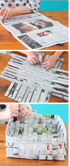 Super Ideas For Diy Paper Crafts Newspaper Basket Weaving Newspaper Basket, Newspaper Crafts, Newspaper Flowers, Recycle Newspaper, Fun Crafts, Diy And Crafts, Origami, Fun Activities For Kids, Recycled Art