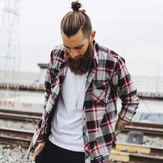 Long Hairstyle Men Bun