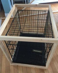 DIY dog crate cover {Heather's Handmade Life} – dog kennel indoor Dog Crate Cover, Dog Kennel Cover, Diy Dog Crate, Wooden Dog Crate, Wire Dog Crates, Wine Crates, Wooden Crates, Metal Dog Kennel, Diy Dog Kennel