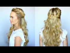 Half Up French Braid Crown with Wavy Curls How to Video Tutorial