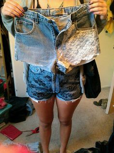 DIY lace shorts. MY LITTLE IS A CRAFTING GENIUS. Follow her