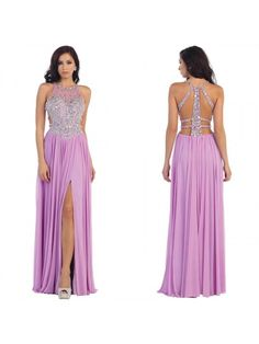 Beaded Lilac Chiffon Long Prom Evening Formal Dresses 99602093