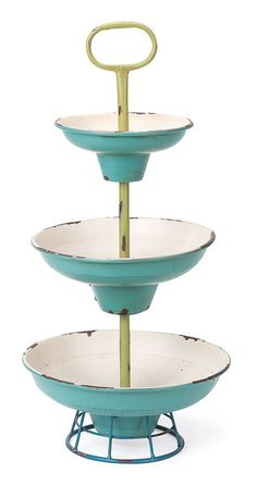 Teal and Lime Vintage Tiered Dishes