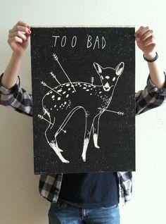 TOO BAD #Deer litho print Poster. $30 Wanda Loves You #esty #poster #print